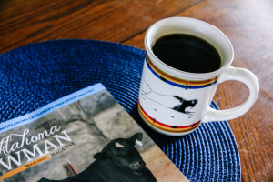 My favorite way to reset a relationship: grab a cup of coffee, get around the table and talk about shared interests. Obviously, a big one around here is agriculture and specifically the beef industry! Pictured here is my favorite Pendleton coffee mug (they're 20 ounces!) and the Oklahoma Cowman, official publication of the Oklahoma Cattlemen's Association.